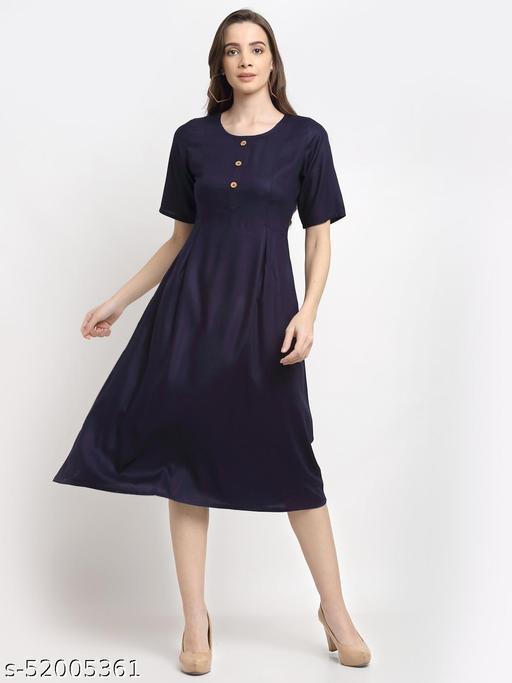 BRINNS Women's Navy Blue Solid Color Button Placket A-Line Midi Dress
