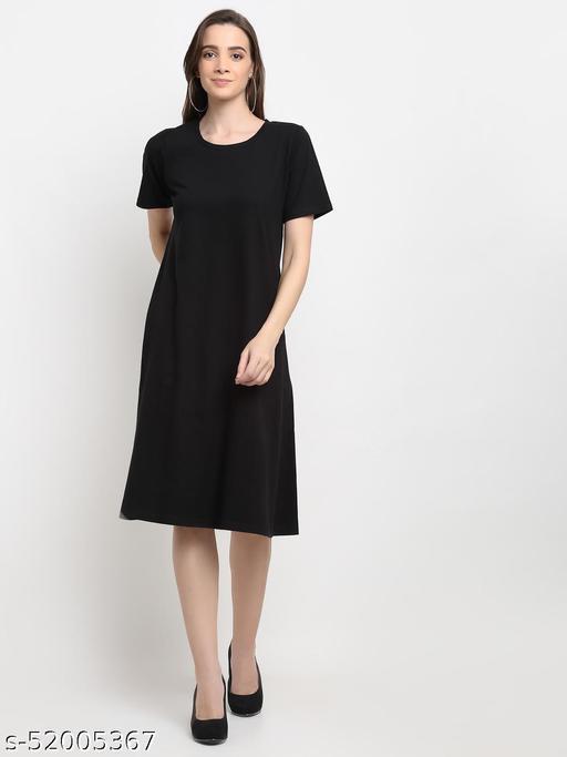 BRINNS Women's Black Solid Color A-Line Cotton Midi Dress