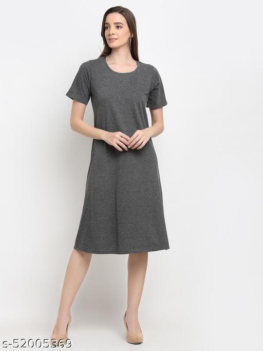 BRINNS Women's Dark Grey/Charcoal Grey Solid Color A-Line Cotton Midi Dress