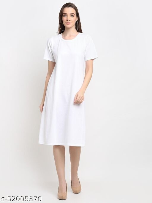 BRINNS Women's White Solid Color A-Line Cotton Midi Dress