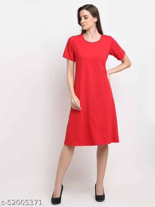 BRINNS Women's Red Solid Color A-Line Cotton Midi Dress