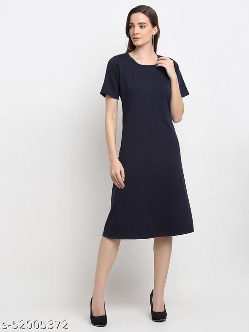 BRINNS Women's Navy Blue Solid Color A-Line Cotton Midi Dress