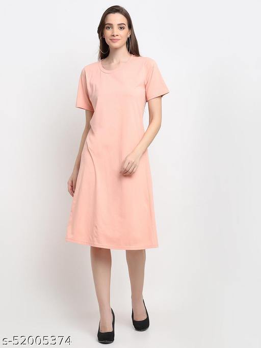 BRINNS Women's Peach Solid Color A-Line Cotton Midi Dress