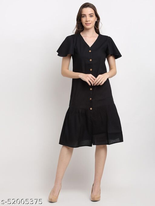 BRINNS Women's Black Solid Button Front Tiered A-Line Dress