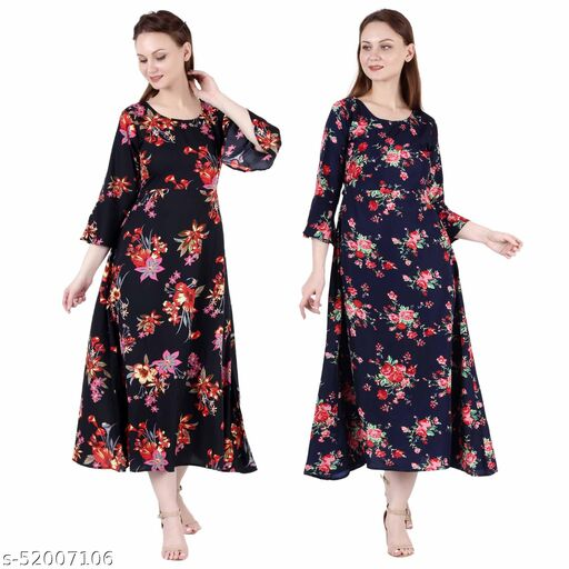 Shanaya Moda A Line Dress with Inner Cotton Lining Black Silver and Nevy Blue Printed Pack of 2