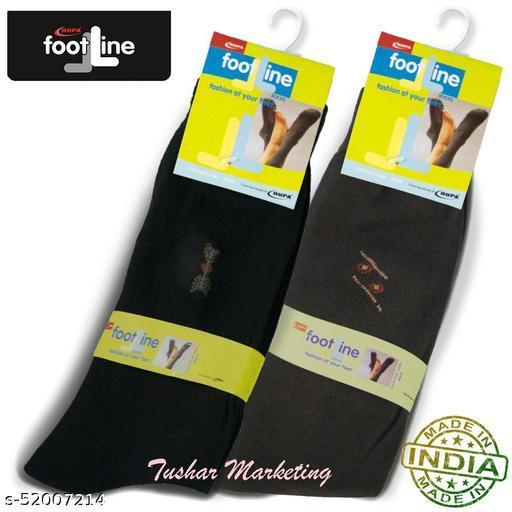 Rupa Footline Men's Cotton Calf Length Formal 2 Pair Socks|Fline-1|FL_2(1007A_BROWN,2013_BLACK)
