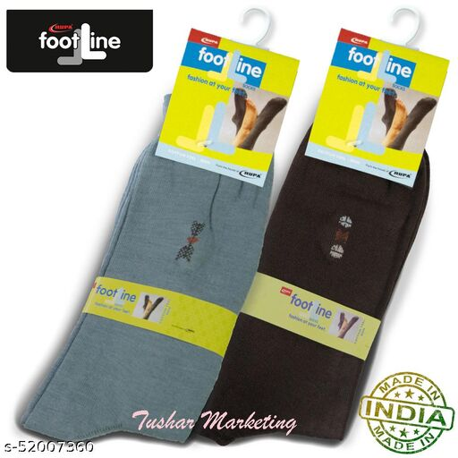Rupa Footline Men's Cotton Calf Length Formal 2 Pair Socks|Fline-1|FL_2(2006_BROWN,2013_GREY)