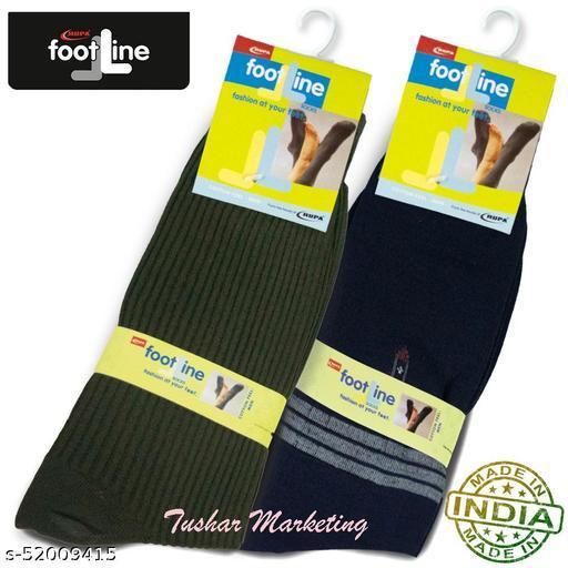 Rupa Footline Men's Cotton Calf Length Formal 2 Pair Socks|Fline-1|FL_2(RIB_OLIVE,3003_NAVY)
