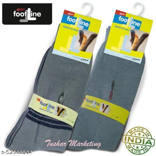 Rupa Footline Men's Cotton Calf Length Formal 2 Pair Socks|Fline-1|FL_2(2032_GREY,3003_GREY)