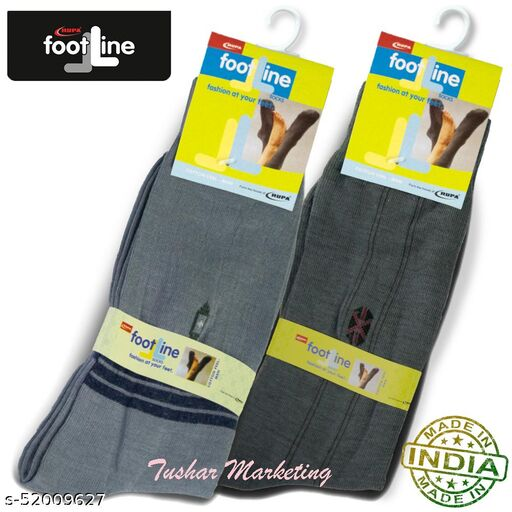 Rupa Footline Men's Cotton Calf Length Formal 2 Pair Socks Fline-1 FL_2(1058_OLIVE,3003_GREY)