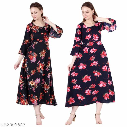 Shanaya Moda A Line Dress with Inner Cotton Lining Black Silver and Blue Pink Flower Printed Pack of 2