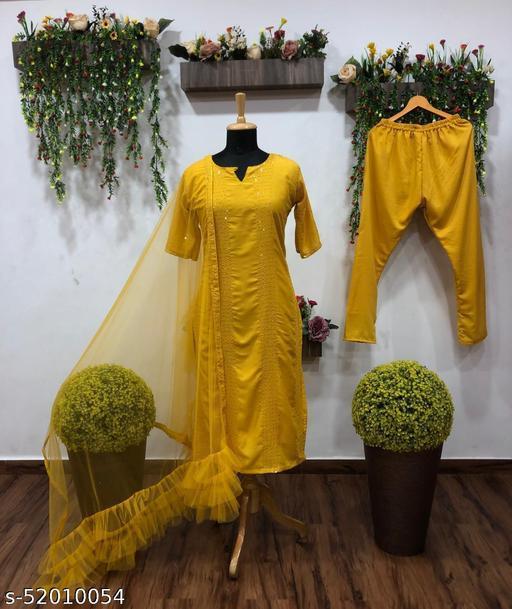 Lemon Yellow rayon thread and seqeuence work Kurti
