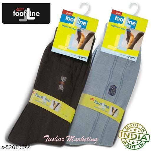Rupa Footline Men's Cotton Calf Length Formal 2 Pair Socks|Fline-1|FL_2(1058_GREY,2013_BROWN)