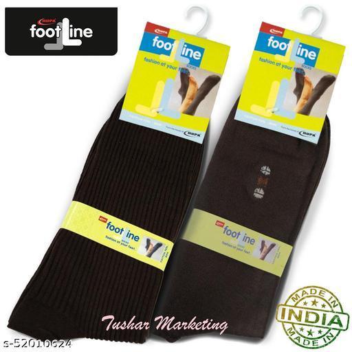 Rupa Footline Men's Cotton Calf Length Formal 2 Pair Socks|Fline-1|FL_2(RIB_BROWN,2006_BROWN)