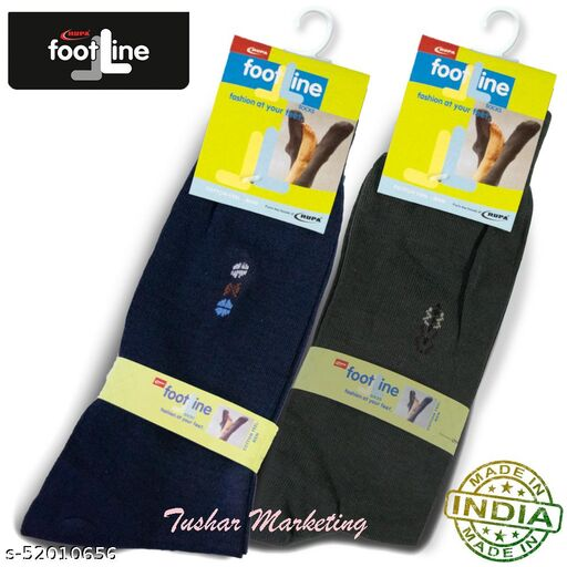 Rupa Footline Men's Cotton Calf Length Formal 2 Pair Socks|Fline-1|FL_2(2001_OLIVE,2006_NAVY)