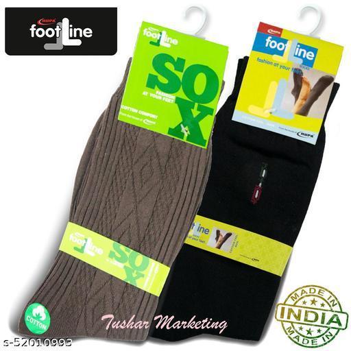 Rupa Footline Men's Cotton Calf Length Formal 2 Pair Socks Fline-1 FL_2(2032_BLACK,2108_BROWN)