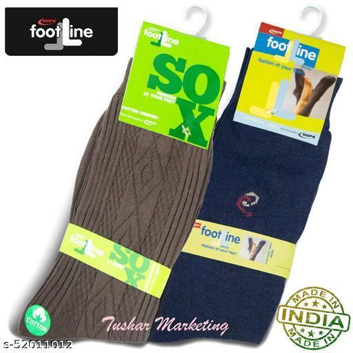 Rupa Footline Men's Cotton Calf Length Formal 2 Pair Socks Fline-1 FL_2(1007_NAVY,2108_BROWN)