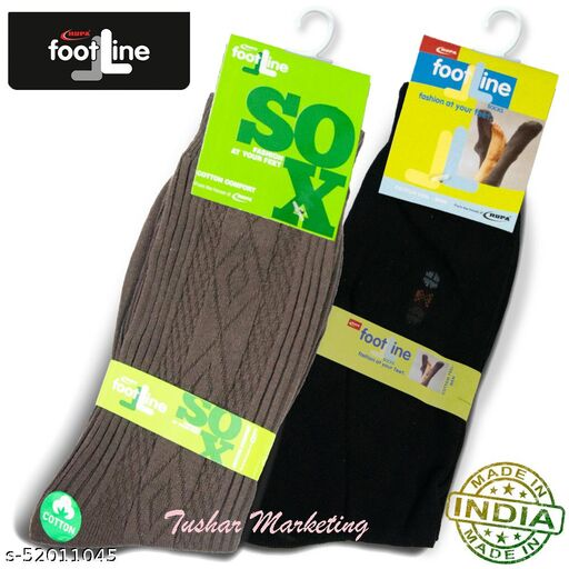 Rupa Footline Men's Cotton Calf Length Formal 2 Pair Socks Fline-1 FL_2(2006_BLACK,2108_BROWN)