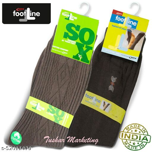 Rupa Footline Men's Cotton Calf Length Formal 2 Pair Socks|Fline-1|FL_2(2013_BROWN,2108_BROWN)