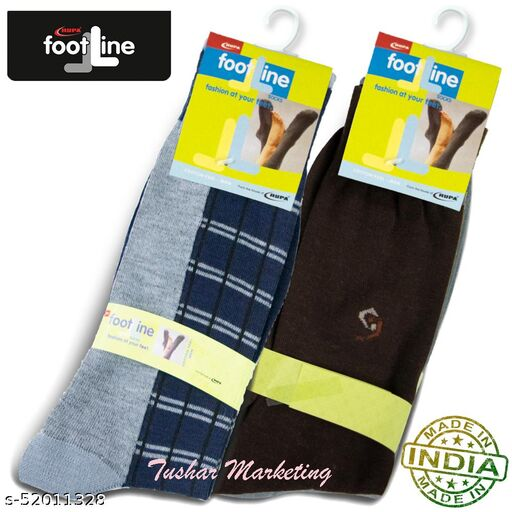 Rupa Footline Men's Cotton Calf Length Formal 2 Pair Socks Fline-1 FL_2(1007_BROWN,4032_GREY)