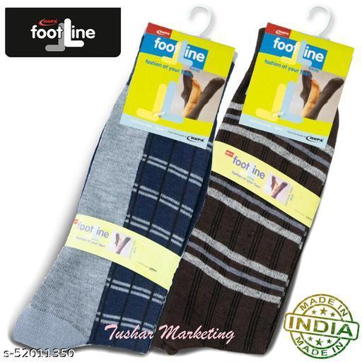 Rupa Footline Men's Cotton Calf Length Formal 2 Pair Socks|Fline-1|FL_2(4003_BROWN,4032_GREY)