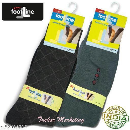 Rupa Footline Men's Cotton Calf Length Formal 2 Pair Socks|Fline-1|FL_2(3004_OLIVE,3007_BROWN)