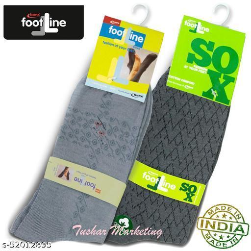 Rupa Footline Men's Cotton Calf Length Formal 2 Pair Socks Fline-1 FL_2(1007A_GREY,5102_OLIVE)