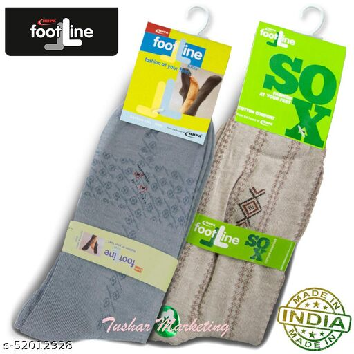 Rupa Footline Men's Cotton Calf Length Formal 2 Pair Socks|Fline-1|FL_2(1007A_GREY,5101_BROWN)