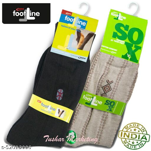 Rupa Footline Men's Cotton Calf Length Formal 2 Pair Socks|Fline-1|FL_2(1058_BLACK,5101_BROWN)