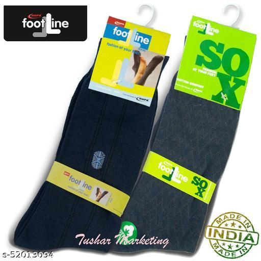Rupa Footline Men's Cotton Calf Length Formal 2 Pair Socks Fline-1 FL_2(1058_NAVY,5102_NAVY)