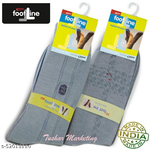 Rupa Footline Men's Cotton Calf Length Formal 2 Pair Socks|Fline-1|FL_2(1007A_GREY,1058_GREY)