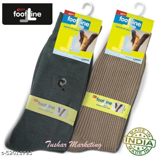Rupa Footline Men's Cotton Calf Length Formal 2 Pair Socks|Fline-1|FL_2(RIB_BEIGE,1007_OLIVE)