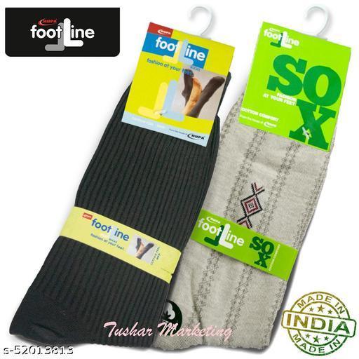 Rupa Footline Men's Cotton Calf Length Formal 2 Pair Socks|Fline-1|FL_2(RIB_BLACK,5101_D_BROWN)