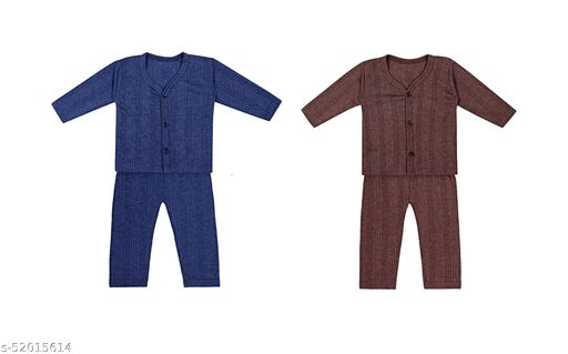 Lily & Leaf Thermal Top and Pyjama Set - Front Open, Full Sleeves, Winter Wear Suit for Infants, Girls, Boys (Navy, Brown) Pack of 2