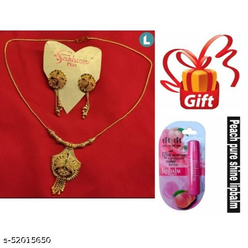 GOLD  PLATED NECKLACE ADJUSTABLE EARRINGS FREE GIFT STRAWBERRY  LIP BALM