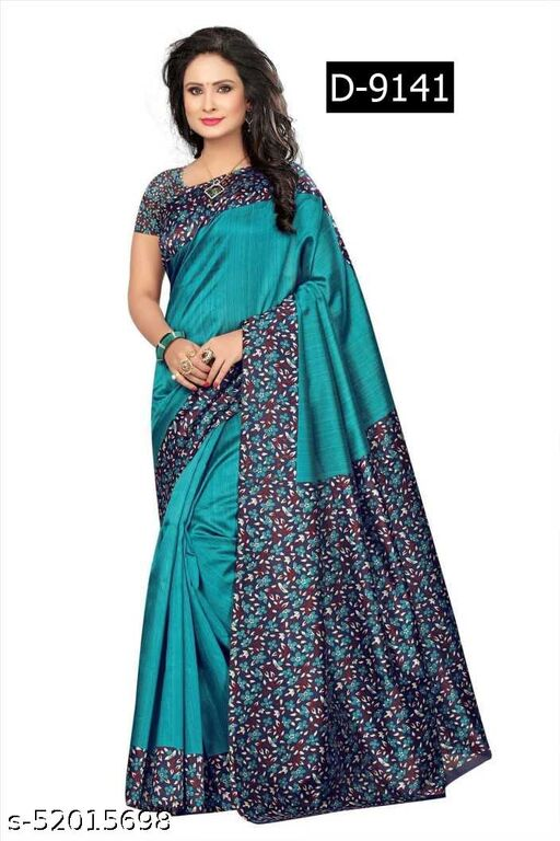 Women's beautiful printed art silk saree  With running blouse piece