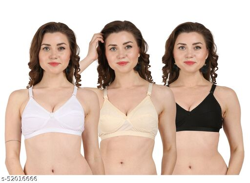 priortity fashion Cotton triple Hook Support Women's Cotton Bra With Broad Straps (Pack Of 3)