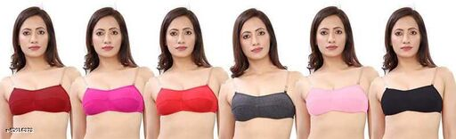 LX PRODUCTWomen Full Coverage Non Padded TRANSPHERNT STRAP Bra(Multicolor)(pack of 6)
