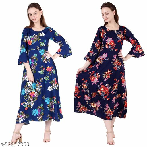 Shanaya Moda A Line Dress with Inner Cotton Lining Royal Blue Printed and Nevy Printed Pack of 2