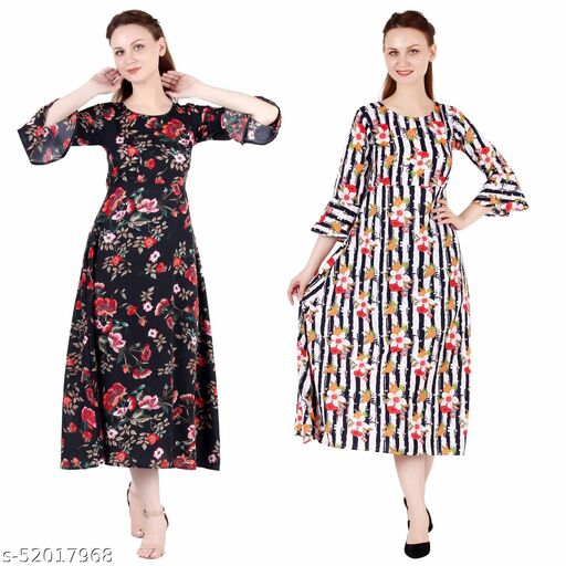 Shanaya Moda A Line Dress with Inner Cotton Lining Black Printed and Multi Prined Pack of 2