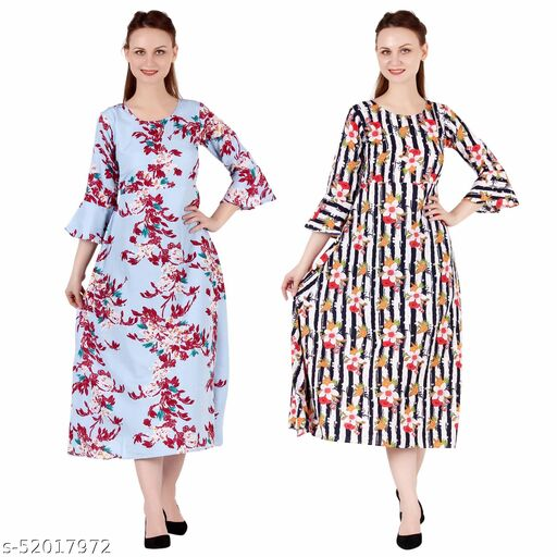 Shanaya Moda A Line Dress with Inner Cotton Lining Light Blue Printed and Multi Prined Pack of 2