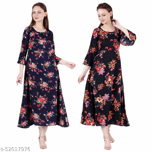Shanaya Moda A Line Dress with Inner Cotton Lining Nevy Blue Printed and Black Silver Pack of 2