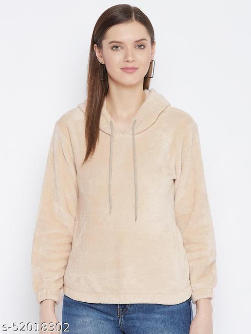 The Million Club Women's Beige Solid Full Sleeves Hooded Sweatshirt