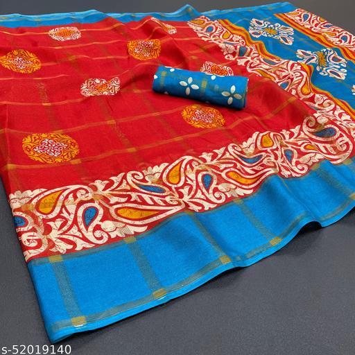 Pretty Jute Printed Saree With Blouse Piece