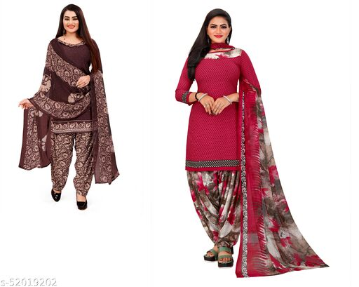 INDIAN HERITAGE Creppe Printed Kurta & Patiyala Material Combo Pack  Of 2 (Unstitched)