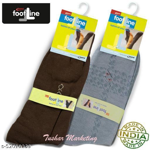 Rupa Footline Men's Cotton Calf Length Formal 2 Pair Socks Fline-1 FL_2(1007A_GREY,3004_BROWN)