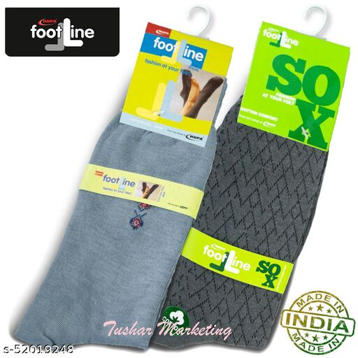 Rupa Footline Men's Cotton Calf Length Formal 2 Pair Socks Fline-1 FL_2(3004_GREY,5102_OLIVE)