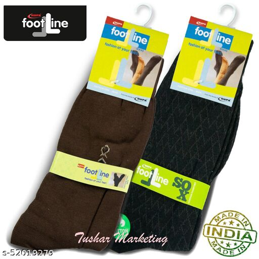 Rupa Footline Men's Cotton Calf Length Formal 2 Pair Socks Fline-1 FL_2(3004_BROWN,5102_BLACK)