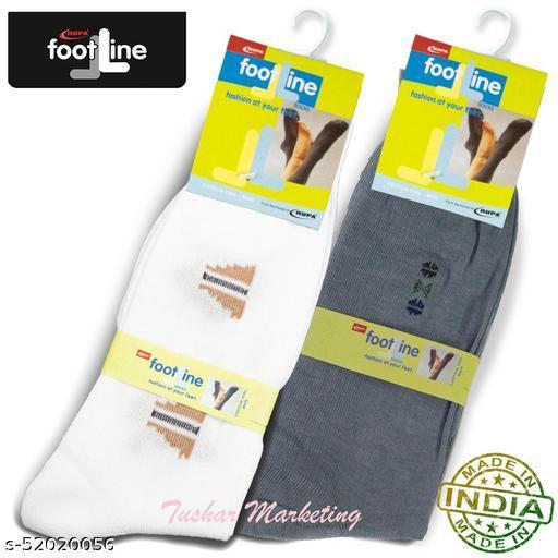 Rupa Footline Men's Cotton Calf Length Formal 2 Pair Socks|Fline-1|FL_2(2006_GREY,2124_WH/BRO)