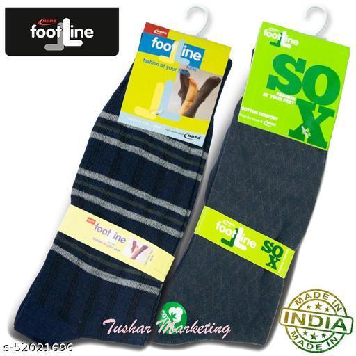Rupa Footline Men's Cotton Calf Length Formal 2 Pair Socks|Fline-1|FL_2(4003_NAVY,5102_NAVY)